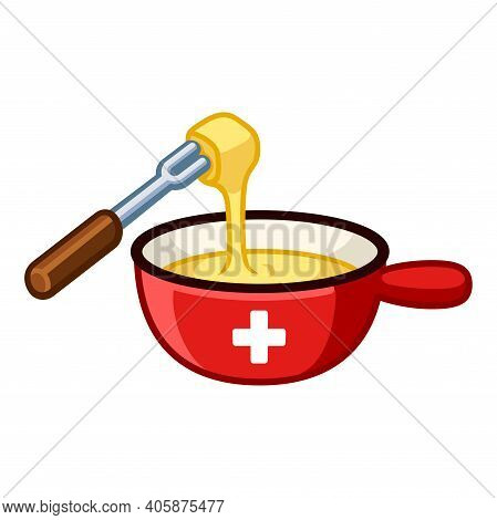 Swiss Cheese Fondue With Flag Of Switzerland On Cast Iron Pot, Dipping Food In Melted Cheese. Cartoo