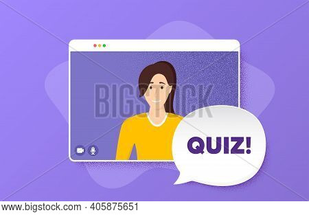 Quiz Symbol. Video Conference Online Call. Answer Question Sign. Examination Test. Woman Character O