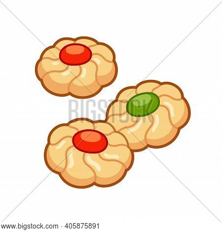 Thumbprint Cookies With Jam Drops. Cartoon Drawing, Isolated Vector Illustration.