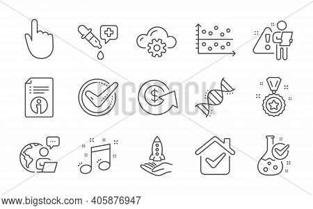 Technical Info, Chemistry Lab And Chemistry Dna Line Icons Set. Dot Plot, Crowdfunding And Winner Re