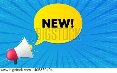 New Symbol. Background With Megaphone. Special Offer Sign. New Arrival. Megaphone Banner. Arrivals S
