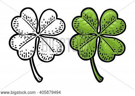 Good Luck Four Leaf Clover. Vintage Color Vector Engraving Illustration