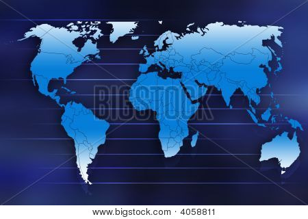 1World map illustration in 2D showing all continents
