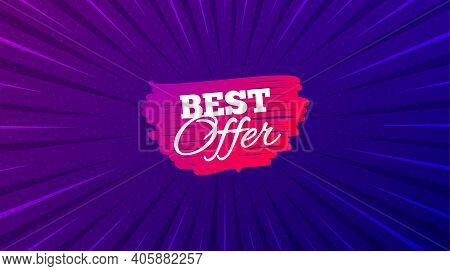 Best Offer Banner. Purple Background With Offer Message. Discount Sticker Shape. Sale Coupon Bubble