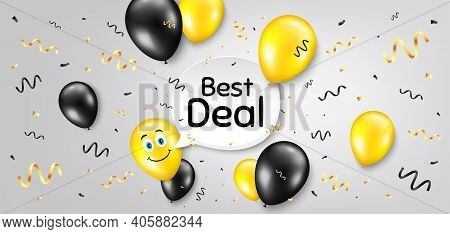 Best Deal. Balloon Confetti Vector Background. Special Offer Sale Sign. Advertising Discounts Symbol