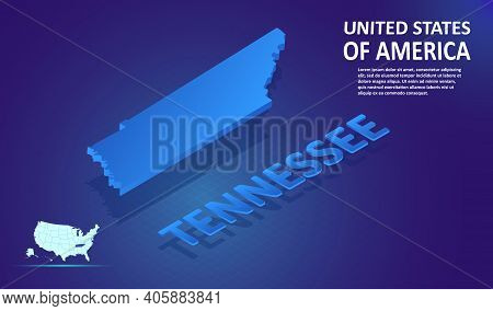 Isometric Tennessee State Map On Blue And Glowing Background. 3d Detailed Map In Perspective With Pl