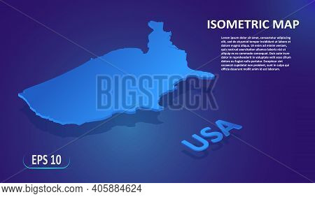 Isometric Map Of Usa. Modern Flat Map Of The United States Of America On Blue Background. Isolated 3