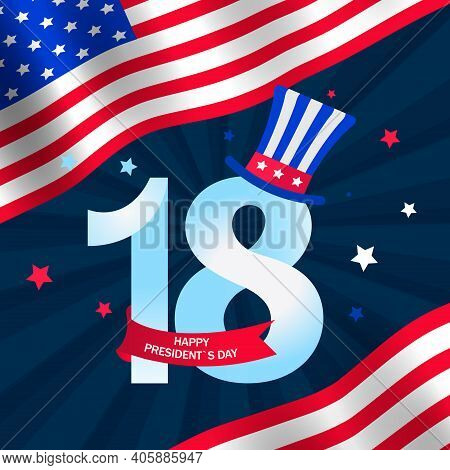 Presidents Day In The United States. Patriotic Background With Flag For Happy Presidents Day.