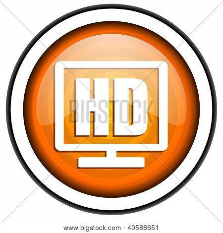 hd display orange glossy icon isolated on white background