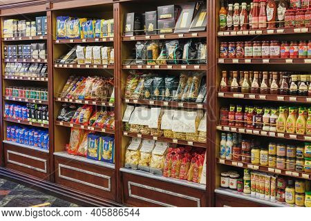 Interior Of Modern Grocery Boutique Store With Vintage Style Wooden Luxury Showcases. Retro Storefro