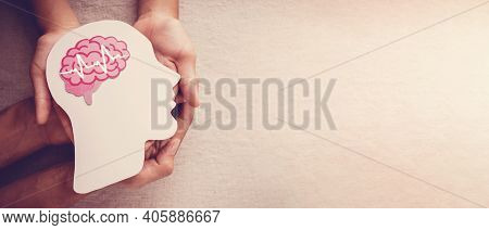 Adult And Child Hands Holding Encephalography Brain Paper Cutout, Epilepsy And Alzheimer Awareness,
