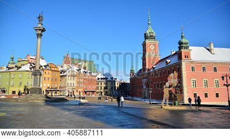 Warsaw, Poland. 31 January 2021.old Town Is The Historic Center Of Warsaw. Sights Of Poland. Snow Da