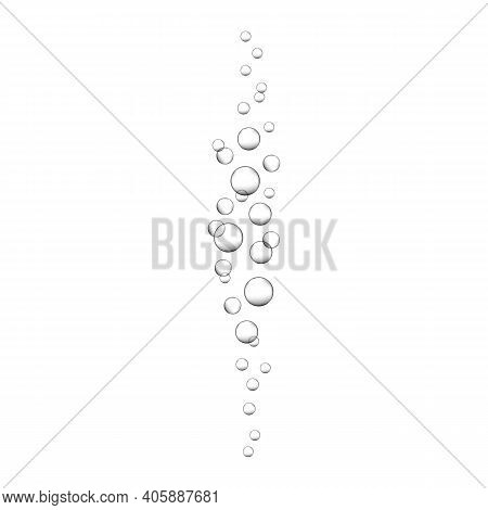 Air Bubbles Rising Up Underwater. Fizzy Drink, Carbonated Sparkling Water, Soda, Lemonade, Champagne