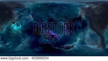 3d Rendering. Space Background With Nebula And Stars. Environment 360 Hdri Map. Equirectangular Proj