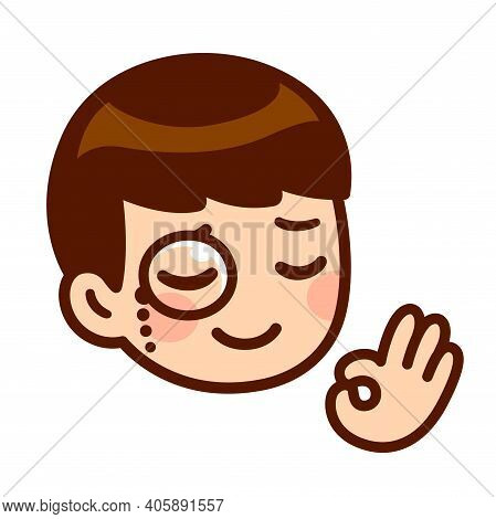 Funny Cartoon Face Of Cute Anime Boy With Monocle And Ok Finger Gesture. High Class, Good Taste Appr