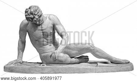 Ancient white marble sculpture of naked dying man Gaul. Antique classic statue of soldier isolated on white. Stone wounded male figure