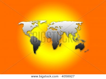 MWorld map illustration in 2D showing all continents