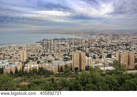 Panoramic View From Mount Carmel To Cityscape And Port In Haifa, Israel.