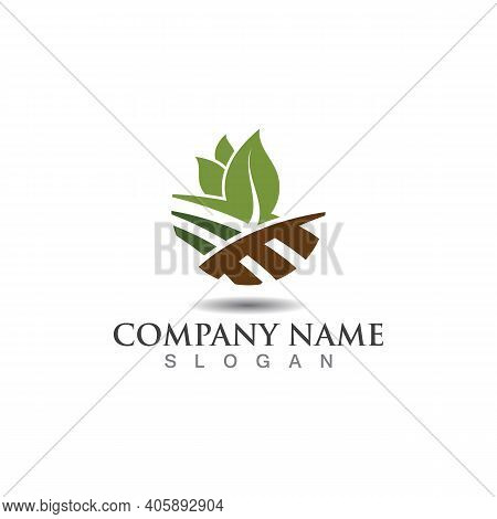 Farming Ecology Green Nature Logo Design Template, Agriculture Icon