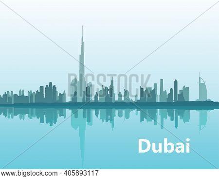 Dubai. Panoramic View Of The Cityline On The Horizon Illustration Of The City Of Dubai, Uae