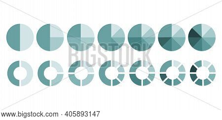 Sector Circles. Flat Infographic Template. Green Circles Pies. Stock Image. Eps 10.