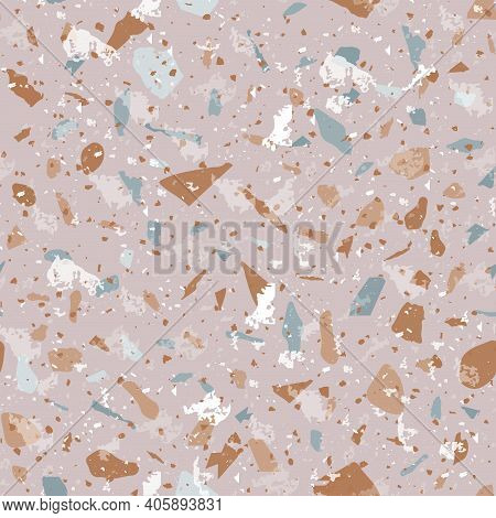 Terrazzo Seamless Pattern. Earthy Classic Flooring Texture. Classic Background Made Of Natural Stone
