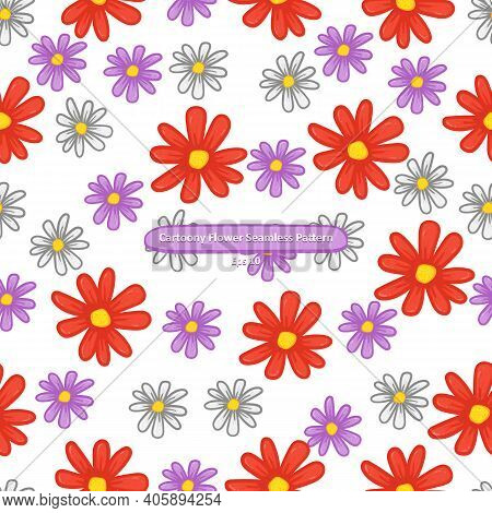 Cartoony Violet Red And White Flower On White Background Seamless Pattern