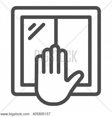 Window And Hand Line Icon, Labour Day Concept, Window Installation Sign On White Background, Worker