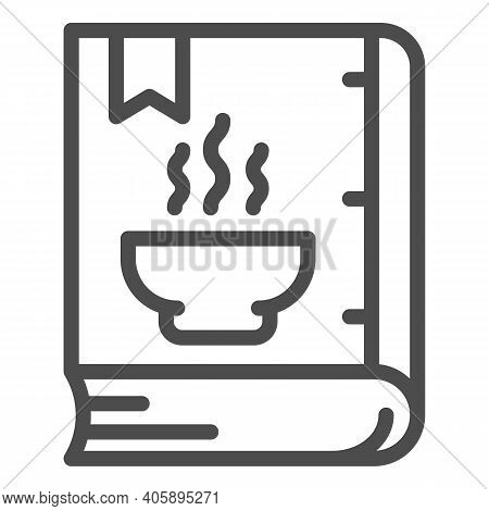 Book With Recipes Line Icon, Diet Concept, Cookbook Sign On White Background, Closed Recipe Book Ico
