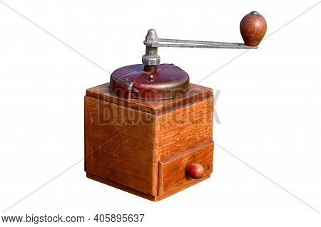 Vintage Hand Cranked Coffee Grinder Isolated On White Backgrounds