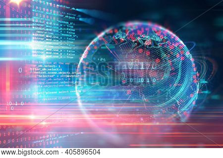 Abstract Background. Technology Design And Technology Connection, Digital Data And Big Data Concept.