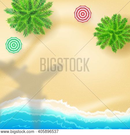 Top Down View To Sea Shore And Shadow Of Aeroplane Over Beach. Plane Flying Under Resort. Vector Bac