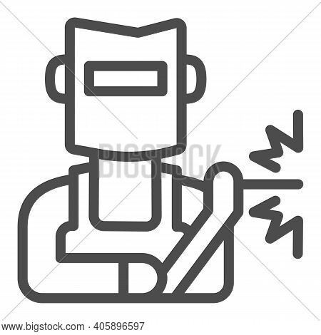 Welder In Helmet Line Icon, Labour Day Concept, Man In A Mask Performing Welding Of Metal Sign On Wh