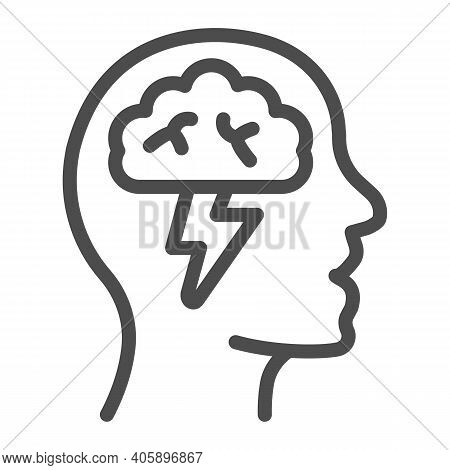 Human Head With Brain And Lightning Line Icon, Startup Concept, Brainstorm And Ideas Sign On White B