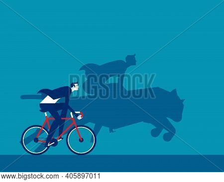A Cyclist And Silhouette Riding A Tiger. Powerful Driving Force