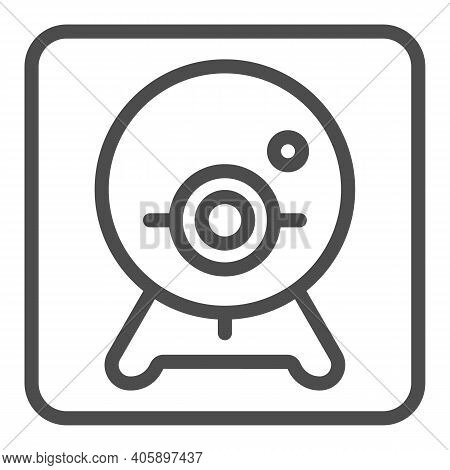 Webcam Line Icon, Online Education Concept, Chat Camera Sign On White Background, Webcam For Videoco