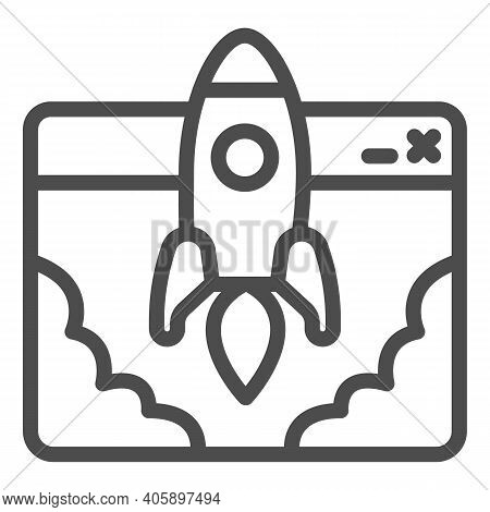 Website And Rocket Launch Line Icon, Startup Concept, Site Launch Sign On White Background, Rocket L