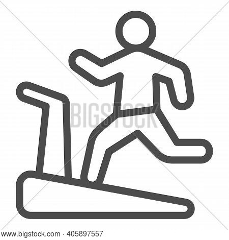Man On Treadmill Line Icon, Diet Concept, Exercise Machine Sign On White Background, Man Running On