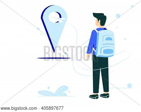 Travel Concept Vector Illustration. People Determine The Destination And Location Of The Vacation.