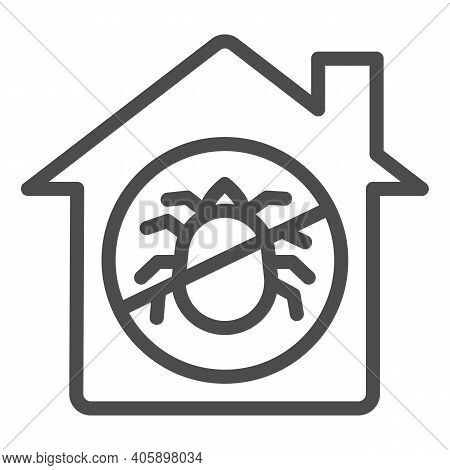House With Ban On Insects Line Icon, Pest Control Concept, Ban Mites Sign On White Background, Paras