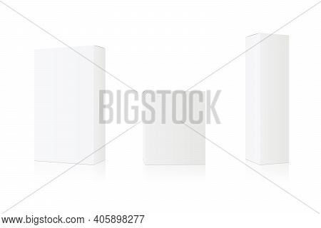 Set Of White Box Mockup. Cosmetics Product Package Mock Up. Vector 3d Illustration Isolated White Ba