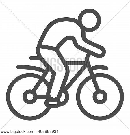 Man On Bike Line Icon, Sport Concept, Bicyclist Silhouette Sign On White Background, Person Rides Bi