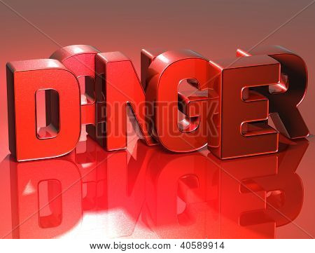 3D Word Danger On Red Background