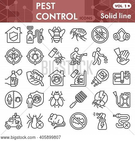 Pest Control Line Icon Set, Anti Pest Symbols Collection Or Sketches. Insect Control Linear Style Si
