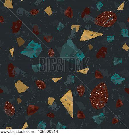 Terrazzo Seamless Pattern. Dark Classic Flooring T