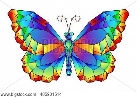 Polygonal Butterfly Painted With Vibrating Rainbow Colors On White Background. Rainbow Origami.