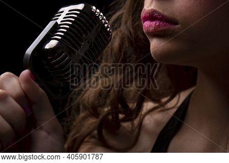 Karaoke. Closeup Woman With Vintage Microphone Lips. Sensual Girl Singer. Concert, Sing