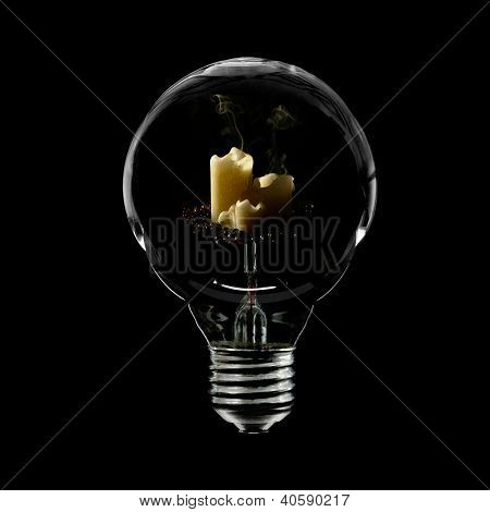 Lightbulb And Three Candles