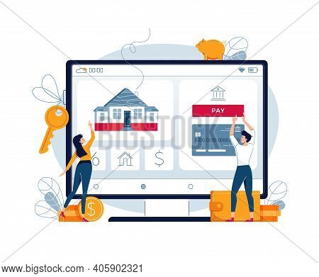 Buying A House Online Vector Illustration. Couple Touching The Button On Monitor Screen, Buy A Home