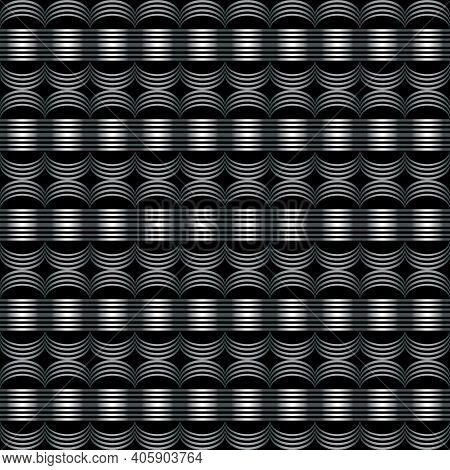 Geometric Seamless Pattern With Semicircles And Lines. Repeating Background. Monochrome.